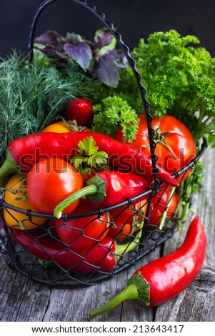 fresh organic vegetables on the  basket - stock photo