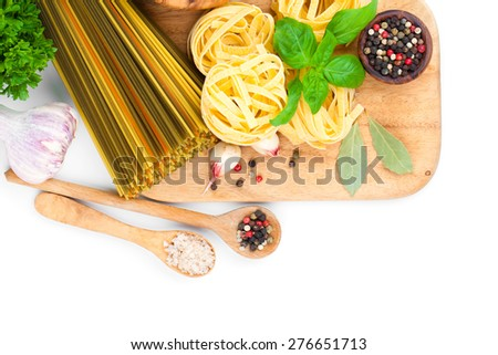 Fresh pasta and italian ingredients, isolated on white background - stock photo