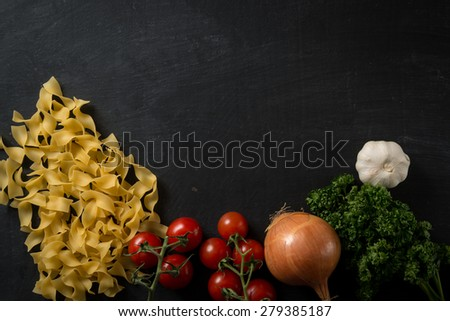 Fresh Pasta Background - stock photo