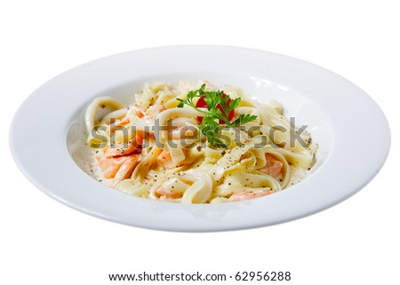 fresh pasta with seafood isolated on white - stock photo