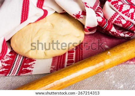 Fresh pasties or pizza dough - stock photo