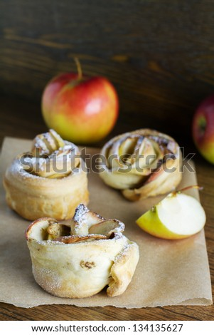fresh pastry with apples - stock photo