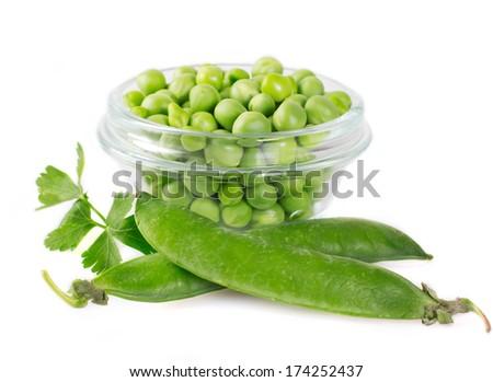 fresh pea isolated on white background - stock photo