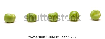 Fresh Pea Pods from low perspective isolated against white background. - stock photo