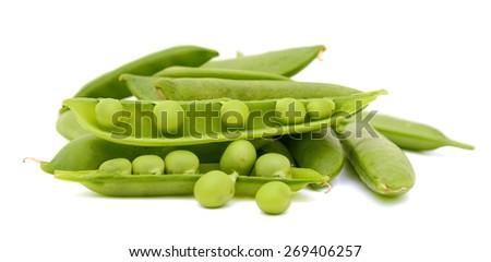 fresh pea pods on white background  - stock photo