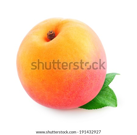 Fresh peach with leaf over white background - stock photo