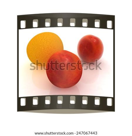 fresh peaches and mandarin on a white background  - stock photo