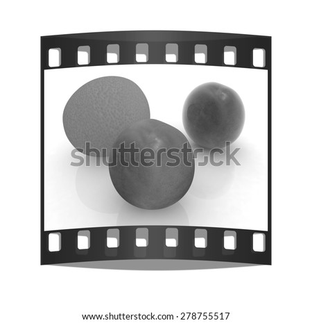 fresh peaches and mandarin on a white background. The film strip - stock photo