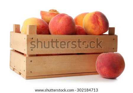 Fresh peaches in wooden crate isolated on white - stock photo