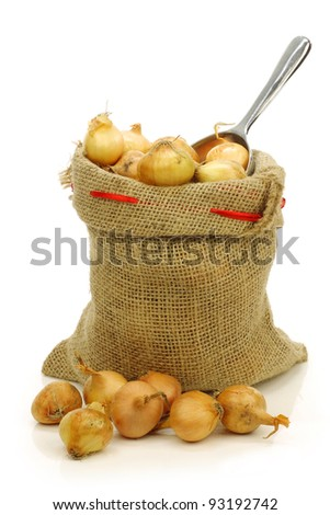 fresh pearl onions in a burlap sack and a aluminum scoop on a white background - stock photo