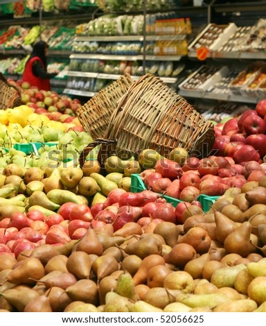 Fresh pears in supermarkets - stock photo