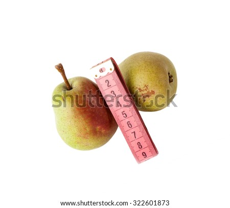 Fresh pears  with measurement tape isolated on white. Diet concept - stock photo