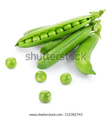 Fresh peas isolated on white - stock photo