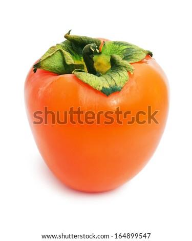 Fresh Persimmon or kaki diospyros ebony fruit on white background - stock photo