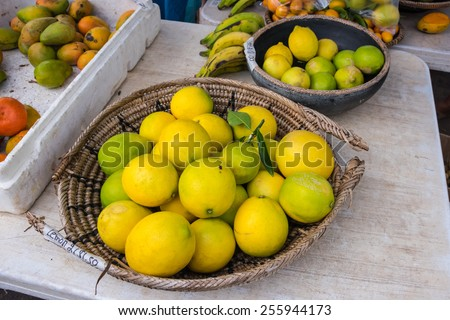 Fresh picked fruit at farmers market in Hawaii - stock photo