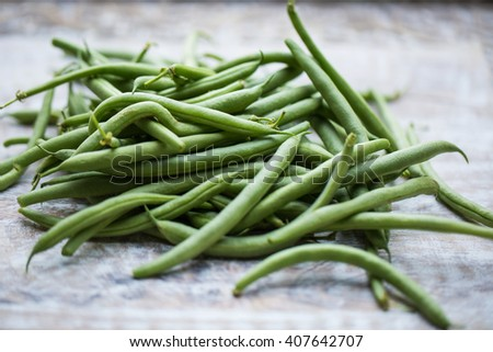 Fresh picked organic, healthy green beans - stock photo
