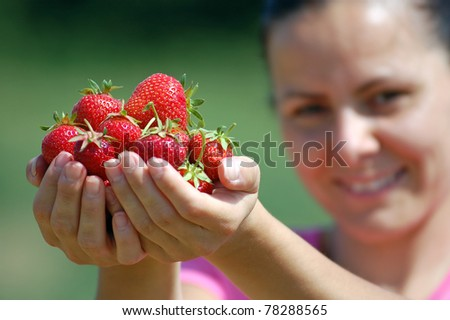 Fresh picked strawberries held by a pretty girl - stock photo