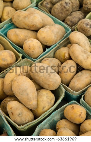 Fresh picket potatoes on display at a farmer's market - stock photo