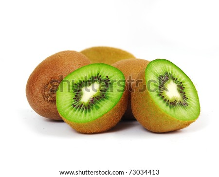 Fresh piece kiwi fruit isolated on white background - stock photo