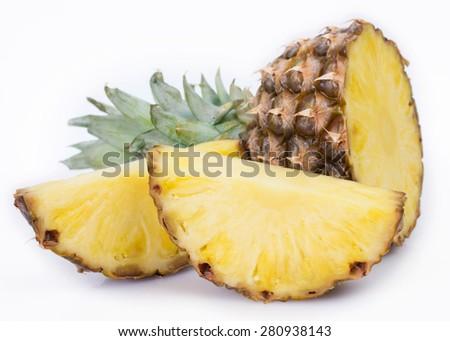 fresh pineapple isolated on white background - stock photo