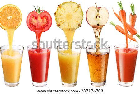 fresh pineapple juice, tomato, carrot, apple, orange is poured into a glass - stock photo