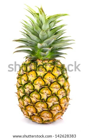 Fresh  pineapple on white background - stock photo