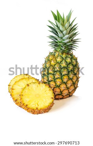 Fresh Pineapple with leaves, Tropical Climate, Fruit, White Backgrounds. - stock photo