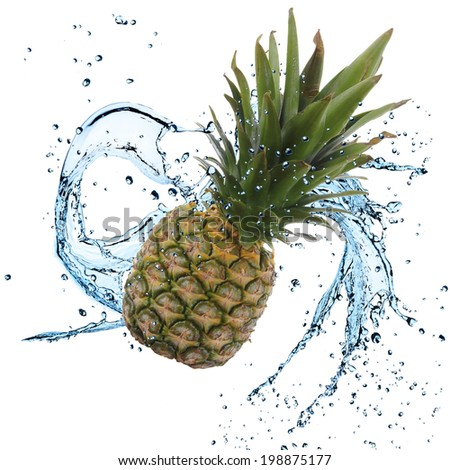Fresh pineapple with water splash over white background - stock photo