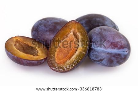 fresh plum isolated on white background - stock photo