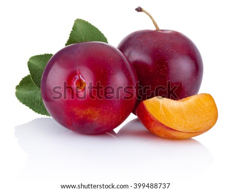 Fresh plums with leaves isolated on a white background - stock photo