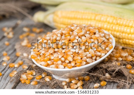 Fresh portion of dried Sweetcorn (close-up shot) - stock photo