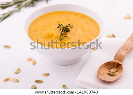 Fresh  Pumpkin Soup - stock photo