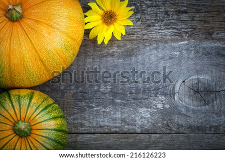 Fresh pumpkins decorated  sun flower on wooden table, top view - stock photo