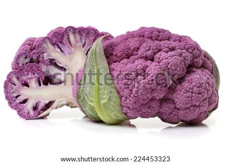 Fresh purple cauliflower on white background  - stock photo