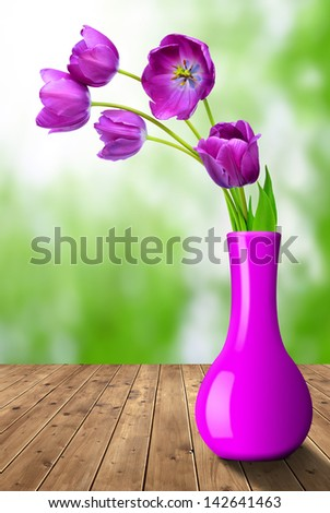 fresh purple tulips - stock photo