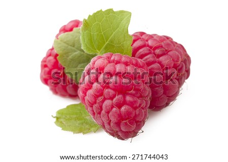 Fresh Raspberry close up on the white  - stock photo