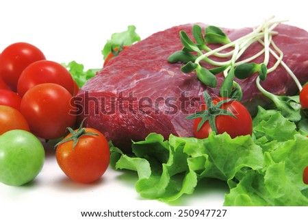 fresh raw beef meat steak on green salad with cherry tomatoes - stock photo