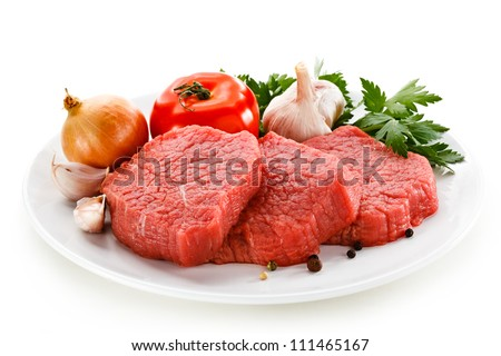 Fresh raw beef on white background - stock photo