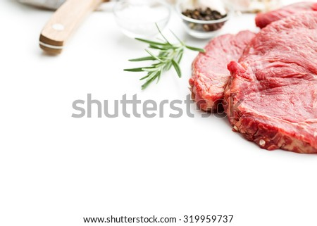 fresh raw beef on white background - stock photo