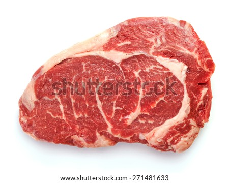 Fresh raw beef steak isolated on white - stock photo
