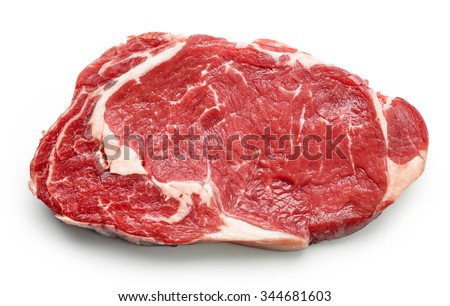 fresh raw beef steak isolated on white background, top view - stock photo