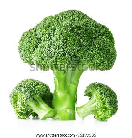 Fresh raw broccoli isolated on white background - stock photo