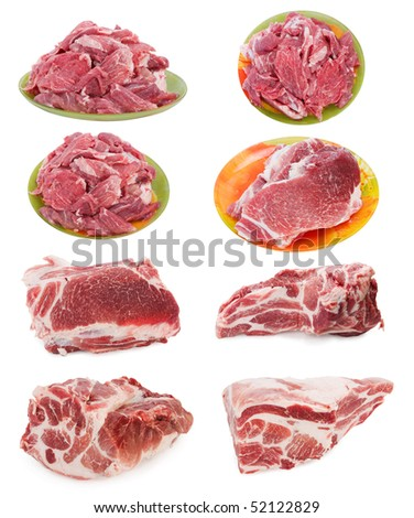 fresh raw marble meat collection - stock photo