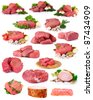 fresh raw meat collection isolated on white - stock photo