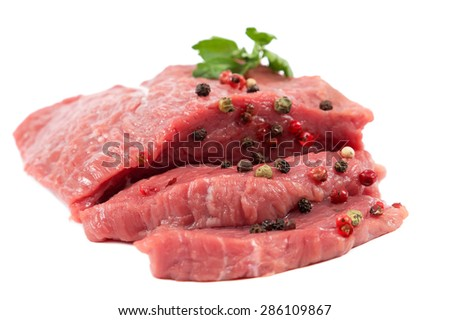 Fresh raw meat isolated on a white background. - stock photo