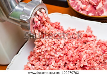 Fresh raw minced meat preparation - stock photo