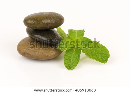 Fresh raw mint leaves, Peppermint on white background. - stock photo