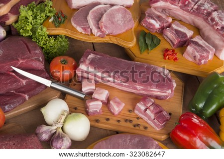 Fresh raw pork and meat - stock photo