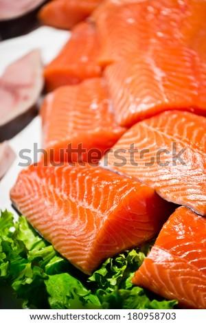 Fresh raw salmon fillets - stock photo