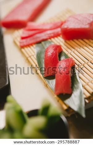 fresh raw sashimi, japanese couisine. Shallow dof - stock photo